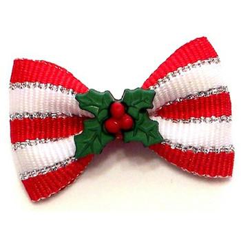 Christmas Deck the Halls Dog Hair Bow Barrette