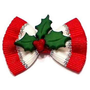 Christmas Deck the Hollies Dog Hair Bow Barrette