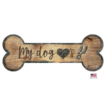 San Antonio Spurs Distressed Dog Bone Wooden Sign