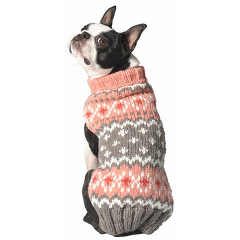 Peach Fairisle Hand Knit Dog Sweaters