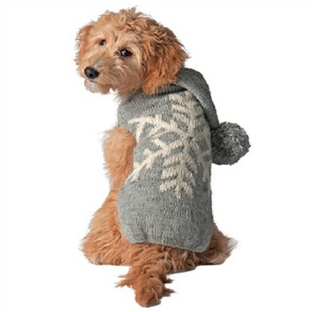 Gray Alpaca Snowflake Hand Knit Dog Sweaters