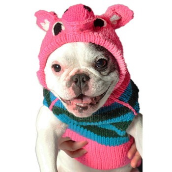 Pink Piggy Hand Knit Hoodie Dog Sweaters