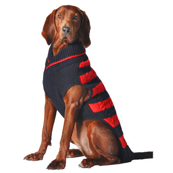 Red and Navy Rugby Hand Knit Dog Sweaters
