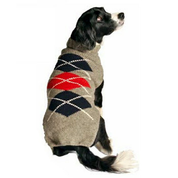 Grey Classic Argyle Hand Knit Dog Sweaters