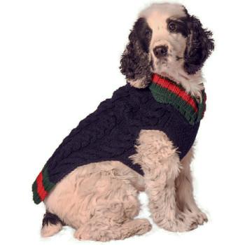 Navy Varsity Hand Knit Dog Sweaters