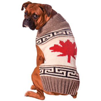 Grey Maple Leaf Hand Knit Dog Sweaters