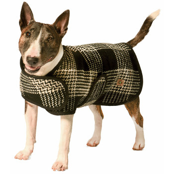 Handmade Black & White Plaid Wool Blanket Pet Dog Coat