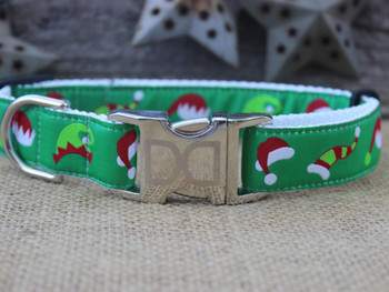Santa's Elf Hats Dog Collar - Personalized Buckle