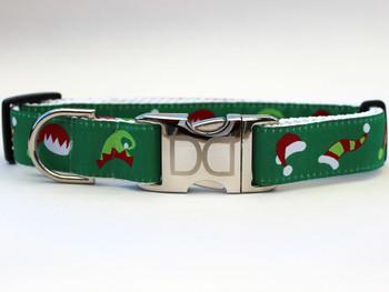 Santa's Elf Hats Dog Collar - Personalized Buckle