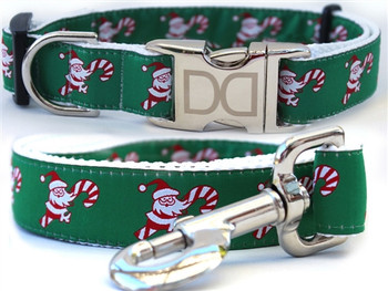 Candy Cane Santa Dog Collar - Personalized Buckle