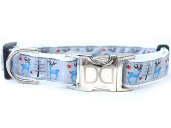 Reindeer Romp Dog Collar - Personalized Buckle