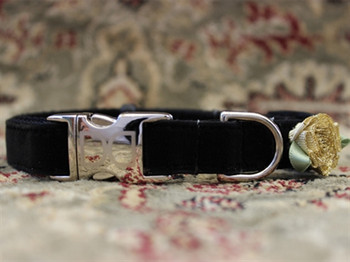 A Formal Affair Black Velvet Dog Collar - Personalized Buckle
