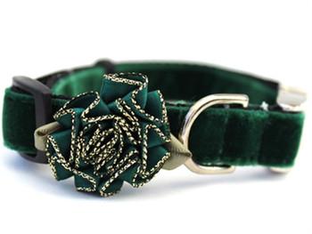 Mistletoe Pine Green Velvet Dog Collar - Personalized Buckle