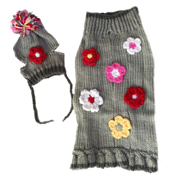 Hand Knit Sweet Flower dog sweater w/Hat