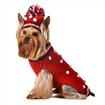 Hand Knit Red Pom-Pom dog sweater w/Hat