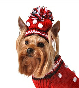 Hand Knit Red Pom-Pom dog sweater w/Hat