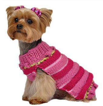 Hand Knit Pink Multi-Stripe Dog Sweater with PomPom Hat