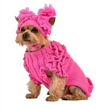 Hand Knit Hot Pink Ruffles Dog Sweater w/Hat