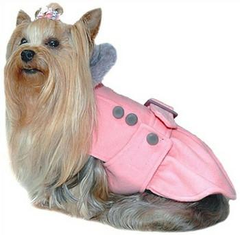Posh Pale Pink Peplum Dog Coat