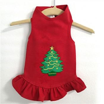 Christmas Tree Flounce Knit Dog Dress