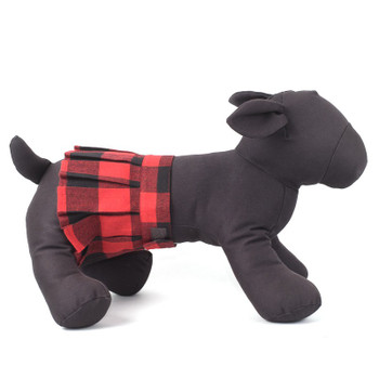 Red Buffalo Plaid Pleated Pet Dog Skirt