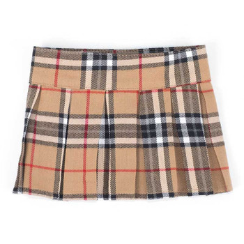 Tan Plaid Pleated Pet Dog Skirt