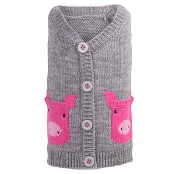 Pink Piggy Dog Cardigan Sweater