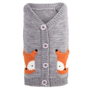 Orange Fox Dog Cardigan Sweater