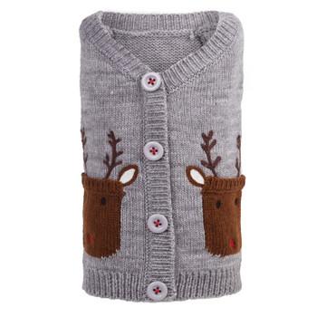 Holiday Reindeer Dog Cardigan Sweater