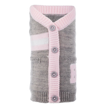 Varsity Pink & Gray Dog Cardigan Sweater