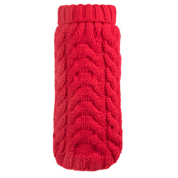 Hand Knit Red Turtleneck Dog Sweater