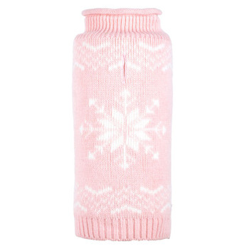 Snowflake Icy Pink Roll Neck Dog Sweater