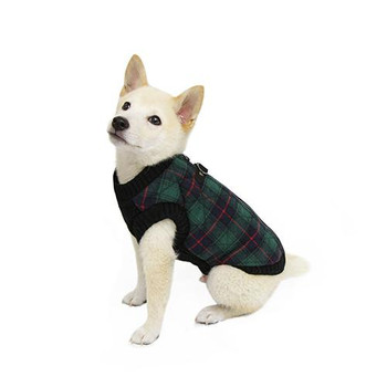 Green Plaid Bomber Dog Vest Jacket