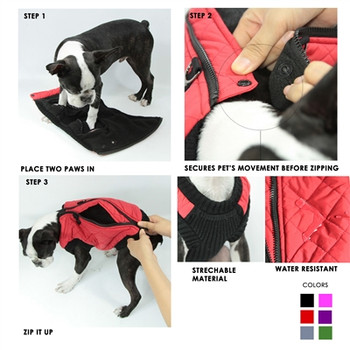 Step In - Zip Up Quilted Fashion Dog Vest - Red