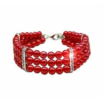 3 Row Faux Pearl Dog Necklace - Red