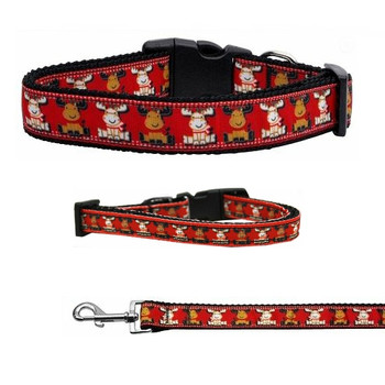 Reindeer Christmas Nylon Dog & Cat Collar & Matching Leash