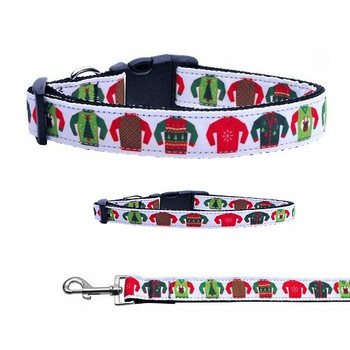 Ugly Sweaters Christmas Nylon Dog & Cat Collar & Matching Leash