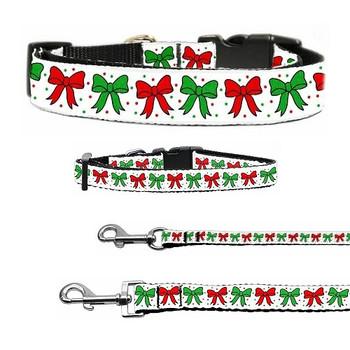 Christmas Bows Nylon Dog & Cat Collar & Matching Leash