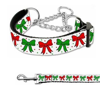 Christmas Bows Nylon Dog Martingale Collar & Matching Leash