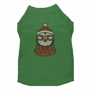 Hipster Penguin Rhinestone Dog Tank - Green