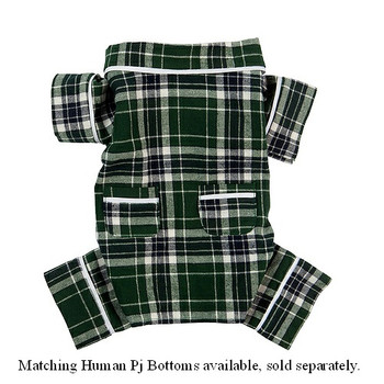 Human Adult Green Plaid Flannel Pajama Bottoms