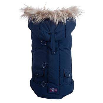Navy Snorkel Dog Jacket Coat - Removable Hood