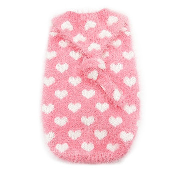 PP Heart Pink Fuzzy Hoodie Dog Sweater