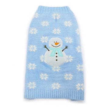 PP Snowman Blue Fuzzy Hoodie Dog Sweater