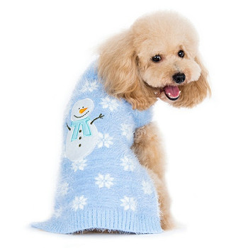 PP Snowman Blue Fuzzy Hoodie Dog Sweater