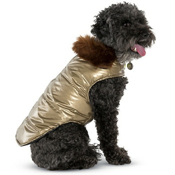Gold Aspen Fur Collar Dog Puffer Coat