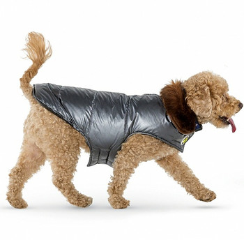 Silver Aspen Fur Collar Dog Puffer Coat