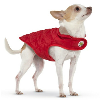 Red / Tan Diamond Quilted Dog Coat