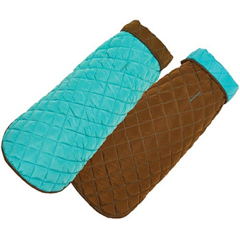 Aqua / Brown Diamond Quilted Dog Coat