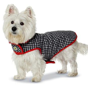 Fleeced Lined Houndstooth Dog Coat